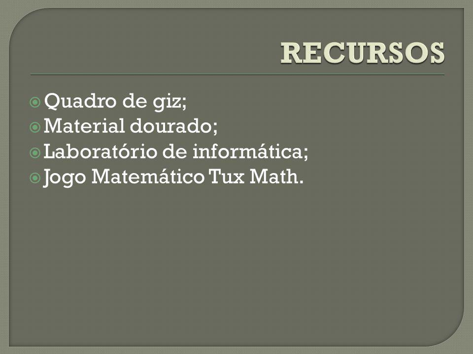 Quadro de giz; Material dourado; Laboratório de informática; Jogo Matemático Tux Math.