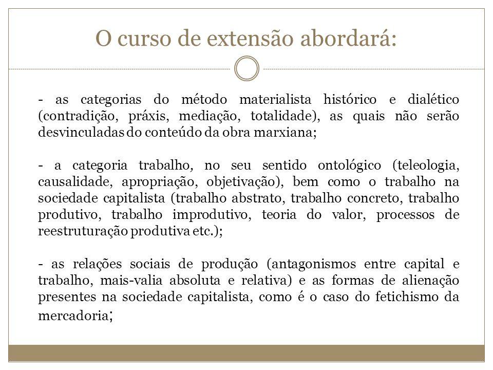 O curso de extensão abordará: - as categorias do método materialista histórico e dialético (contradição, práxis, mediação, totalidade), as quais não s