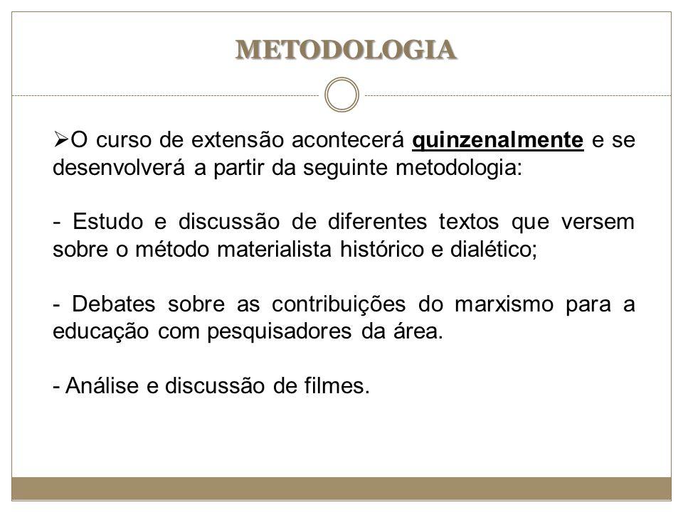 METODOLOGIA O curso de extensão acontecerá quinzenalmente e se desenvolverá a partir da seguinte metodologia: - Estudo e discussão de diferentes texto