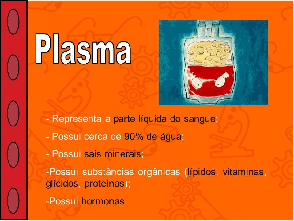 - Representa a parte líquida do sangue; - Possui cerca de 90% de água; - Possui sais minerais; -Possui substâncias orgânicas (lípidos, vitaminas, glíc