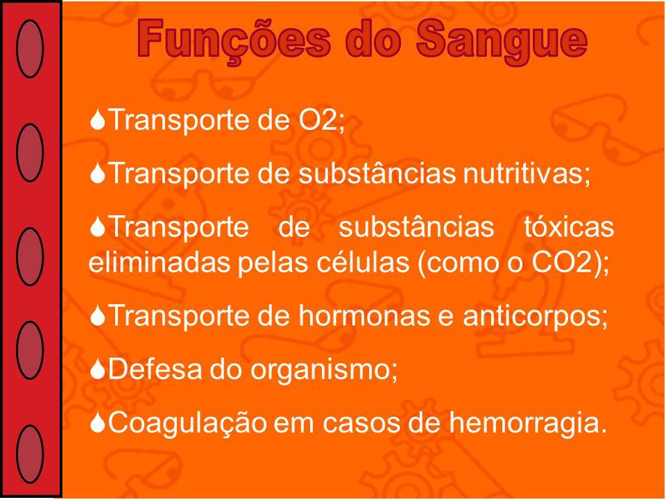 Transporte de O2; Transporte de substâncias nutritivas; Transporte de substâncias tóxicas eliminadas pelas células (como o CO2); Transporte de hormona