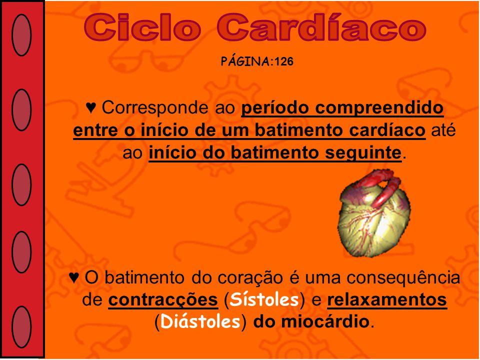 PÁGINA :126 Corresponde ao período compreendido entre o início de um batimento cardíaco até ao início do batimento seguinte. O batimento do coração é
