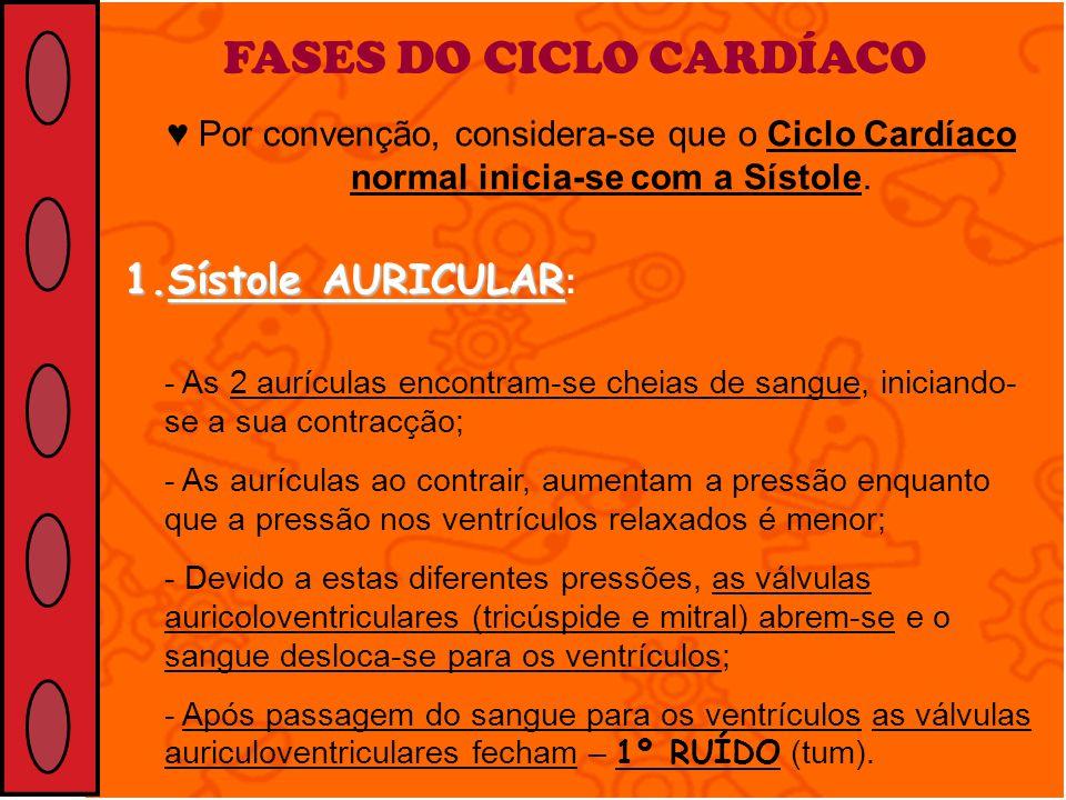 FASES DO CICLO CARDÍACO Por convenção, considera-se que o Ciclo Cardíaco normal inicia-se com a Sístole. 1.Sístole AURICULAR 1.Sístole AURICULAR : - A