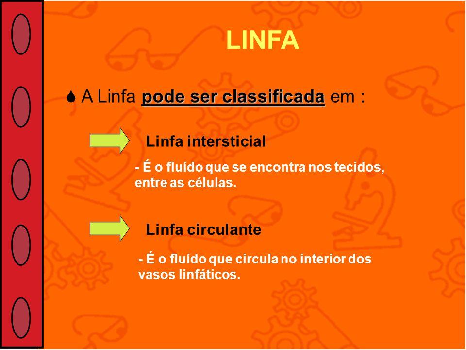 pode ser classificada A Linfa pode ser classificada em : LINFA Linfa intersticialLinfa circulante - É o fluído que se encontra nos tecidos, entre as c