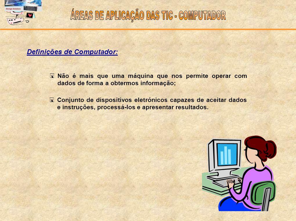 Definições de Computador: Não é mais que uma máquina que nos permite operar com dados de forma a obtermos informação; Conjunto de dispositivos eletrón