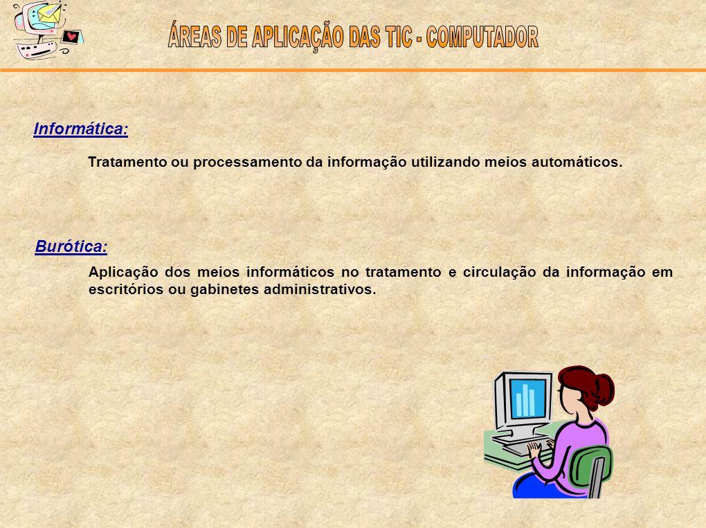 Informática: Tratamento ou processamento da informação utilizando meios automáticos. Burótica: Aplicação dos meios informáticos no tratamento e circul