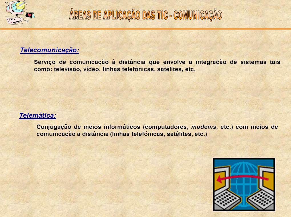 Telecomunicação: Telemática: Conjugação de meios informáticos (computadores, modems, etc.) com meios de comunicação a distância (linhas telefónicas, s