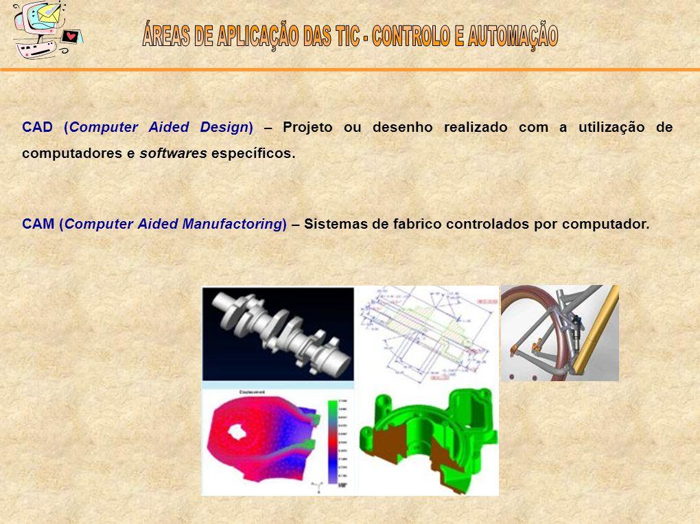 CAD (Computer Aided Design) – Projeto ou desenho realizado com a utilização de computadores e softwares específicos. CAM (Computer Aided Manufactoring