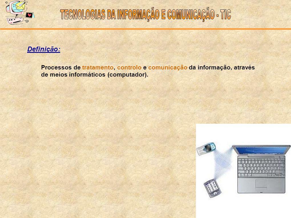 Definição: Processos de tratamento, controlo e comunicação da informação, através de meios informáticos (computador).