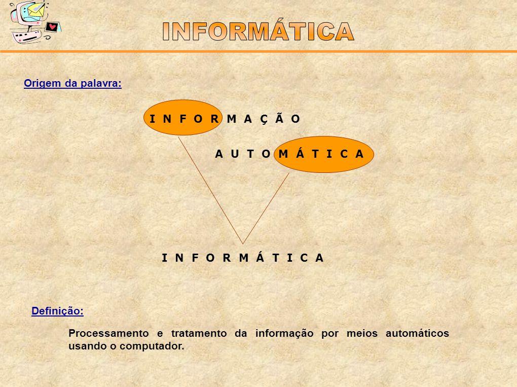 Origem da palavra: Definição: Processamento e tratamento da informação por meios automáticos usando o computador. I N F O R M Á T I C A I N F O R M A