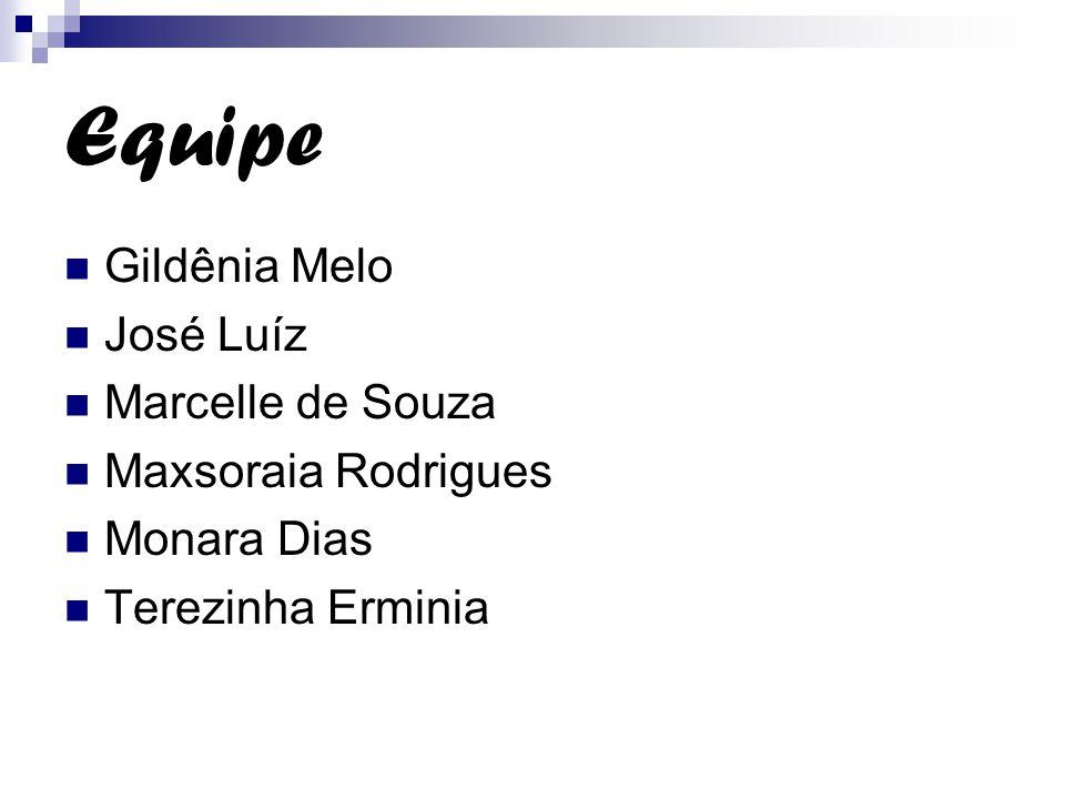 Equipe Gildênia Melo José Luíz Marcelle de Souza Maxsoraia Rodrigues Monara Dias Terezinha Erminia