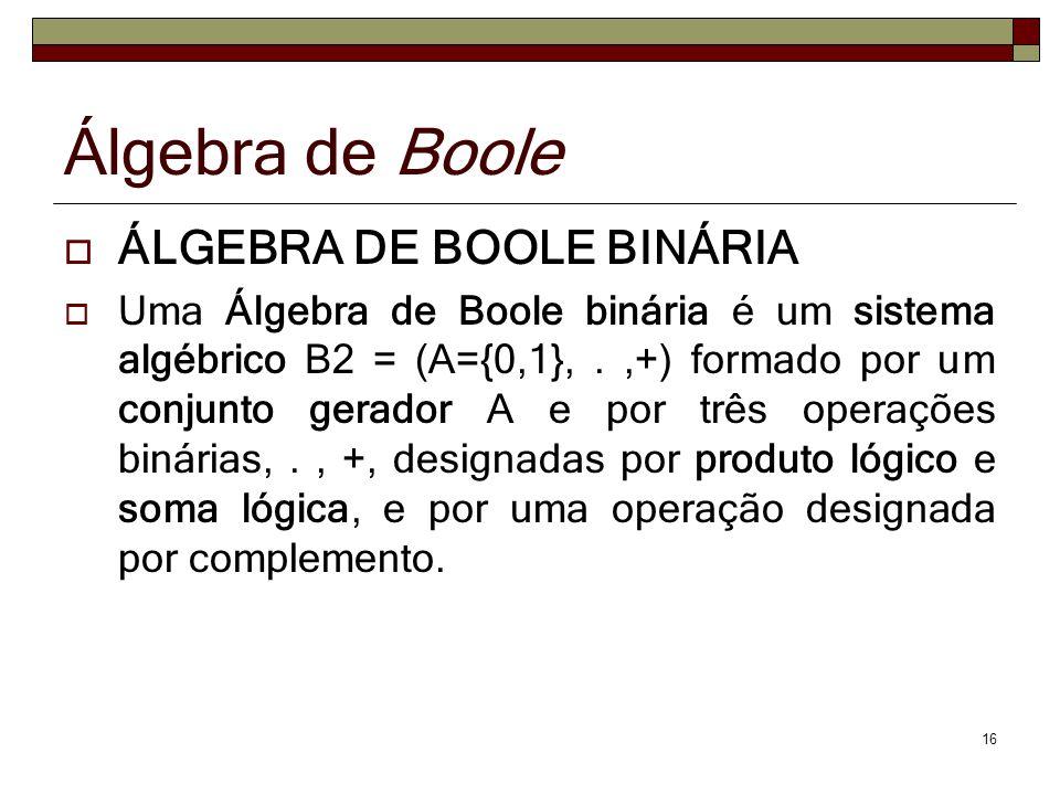 16 ÁLGEBRA DE BOOLE BINÁRIA Uma Álgebra de Boole binária é um sistema algébrico B2 = (A={0,1},.,+) formado por um conjunto gerador A e por três operaç