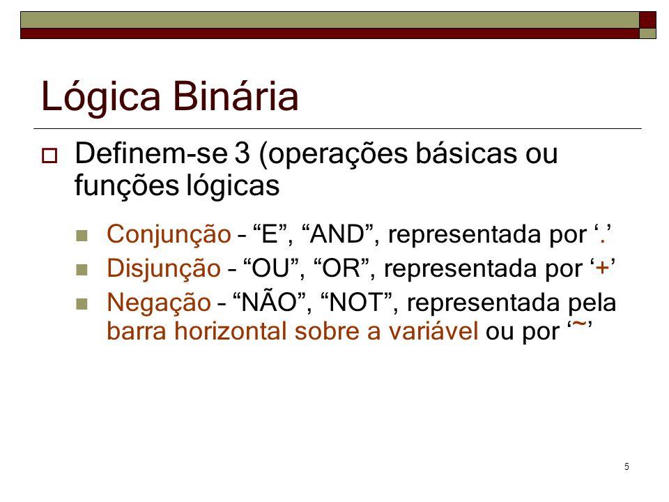 5 Lógica Binária Definem-se 3 (operações básicas ou funções lógicas Conjunção – E, AND, representada por. Disjunção – OU, OR, representada por + Negaç
