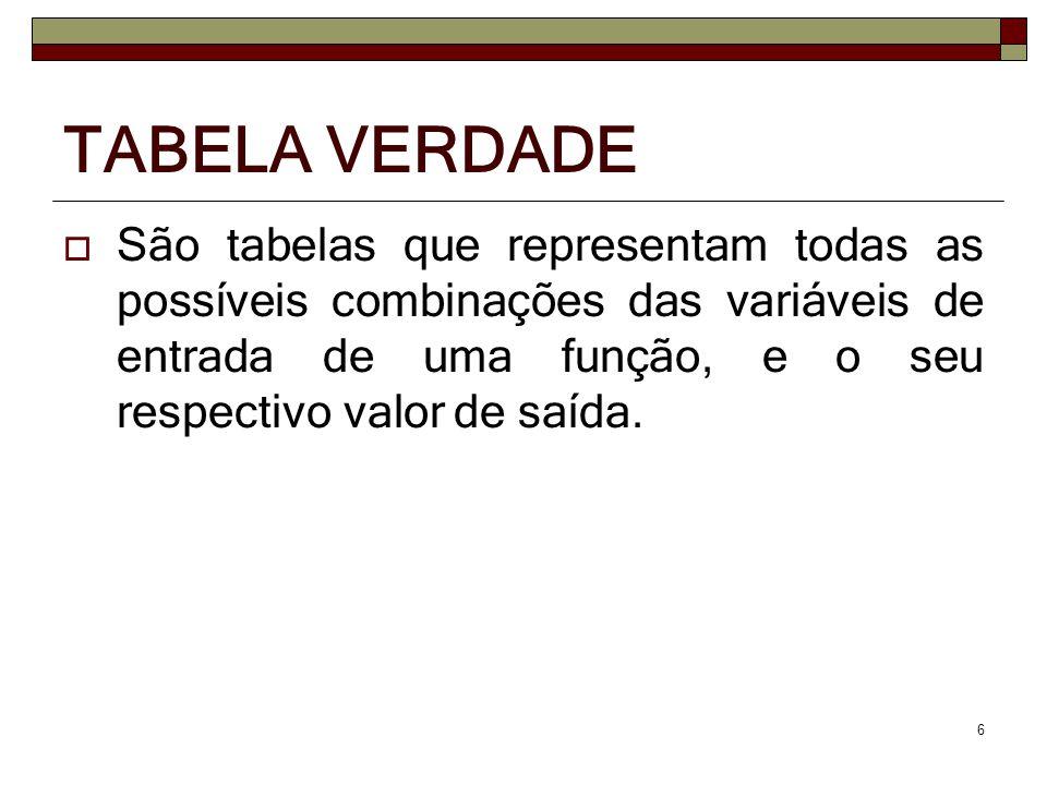 São tabelas que representam todas as possíveis combinações das variáveis de entrada de uma função, e o seu respectivo valor de saída. 6 TABELA VERDADE