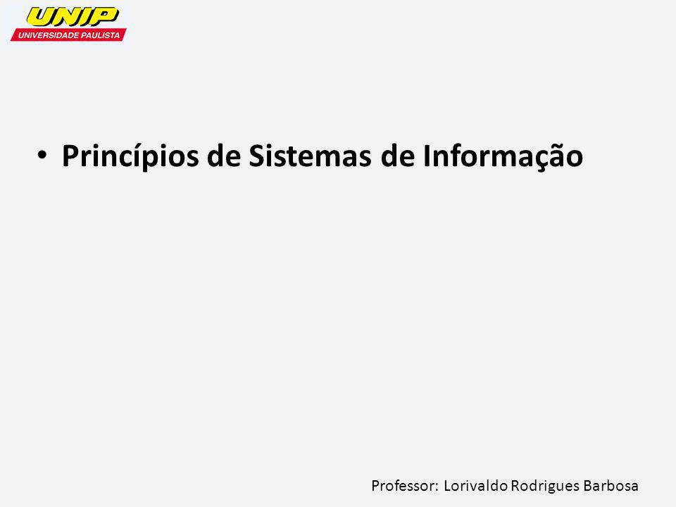 Professor: Lorivaldo Rodrigues Barbosa Princípios de Sistemas de Informação