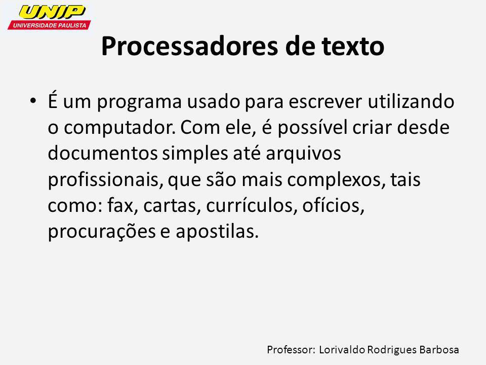 Professor: Lorivaldo Rodrigues Barbosa Processadores de texto É um programa usado para escrever utilizando o computador.