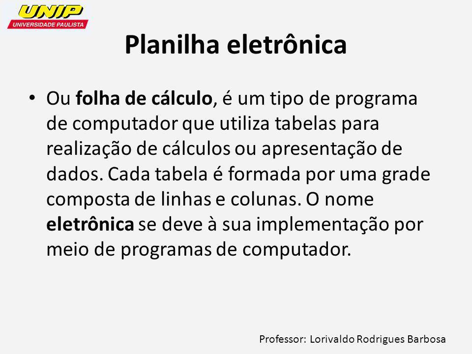 Professor: Lorivaldo Rodrigues Barbosa Planilha eletrônica Ou folha de cálculo, é um tipo de programa de computador que utiliza tabelas para realização de cálculos ou apresentação de dados.