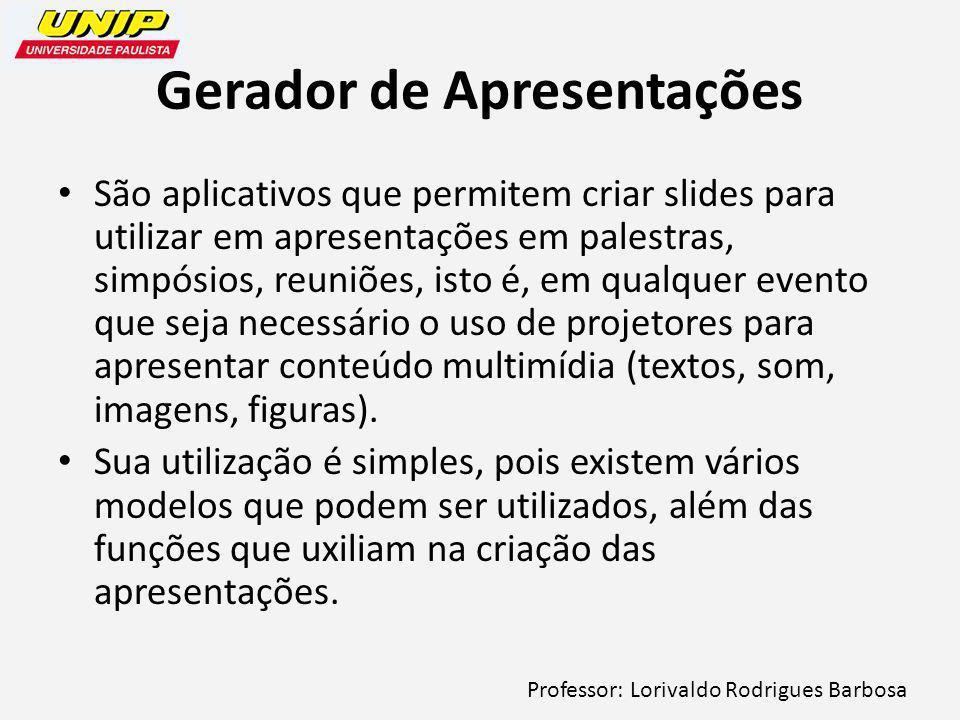 Professor: Lorivaldo Rodrigues Barbosa Gerador de Apresentações São aplicativos que permitem criar slides para utilizar em apresentações em palestras, simpósios, reuniões, isto é, em qualquer evento que seja necessário o uso de projetores para apresentar conteúdo multimídia (textos, som, imagens, figuras).