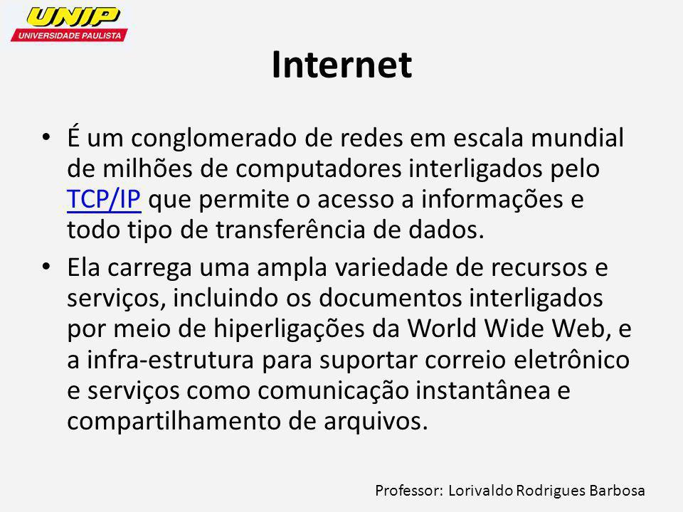Professor: Lorivaldo Rodrigues Barbosa Internet É um conglomerado de redes em escala mundial de milhões de computadores interligados pelo TCP/IP que permite o acesso a informações e todo tipo de transferência de dados.