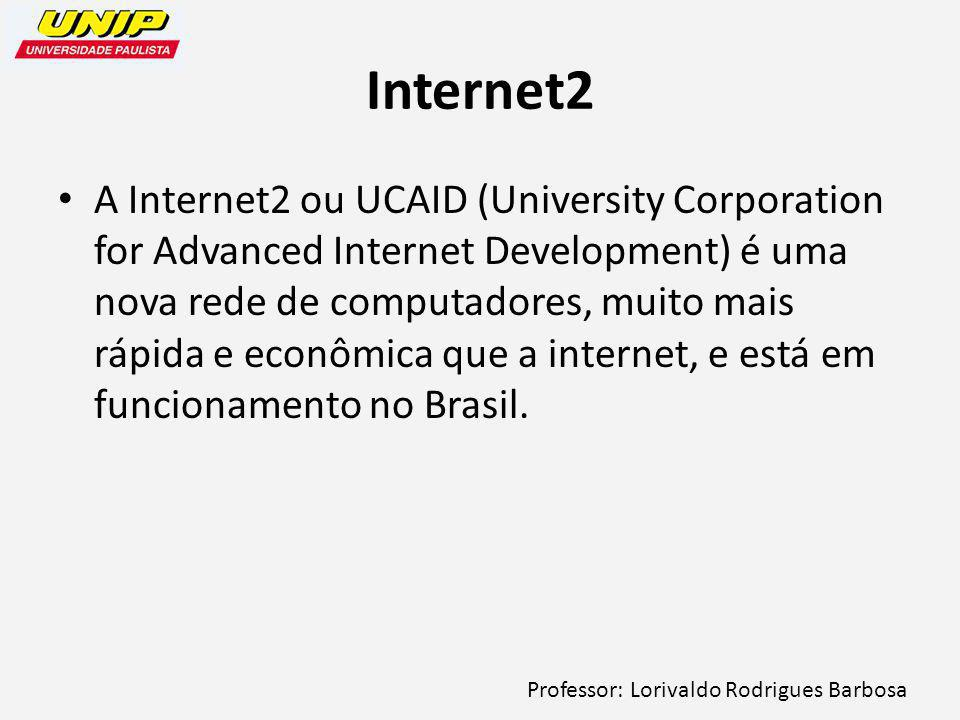 Professor: Lorivaldo Rodrigues Barbosa Internet2 A Internet2 ou UCAID (University Corporation for Advanced Internet Development) é uma nova rede de co