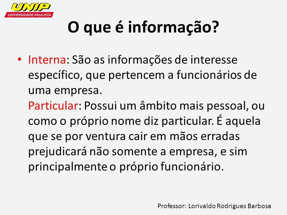 Professor: Lorivaldo Rodrigues Barbosa O que é informação.