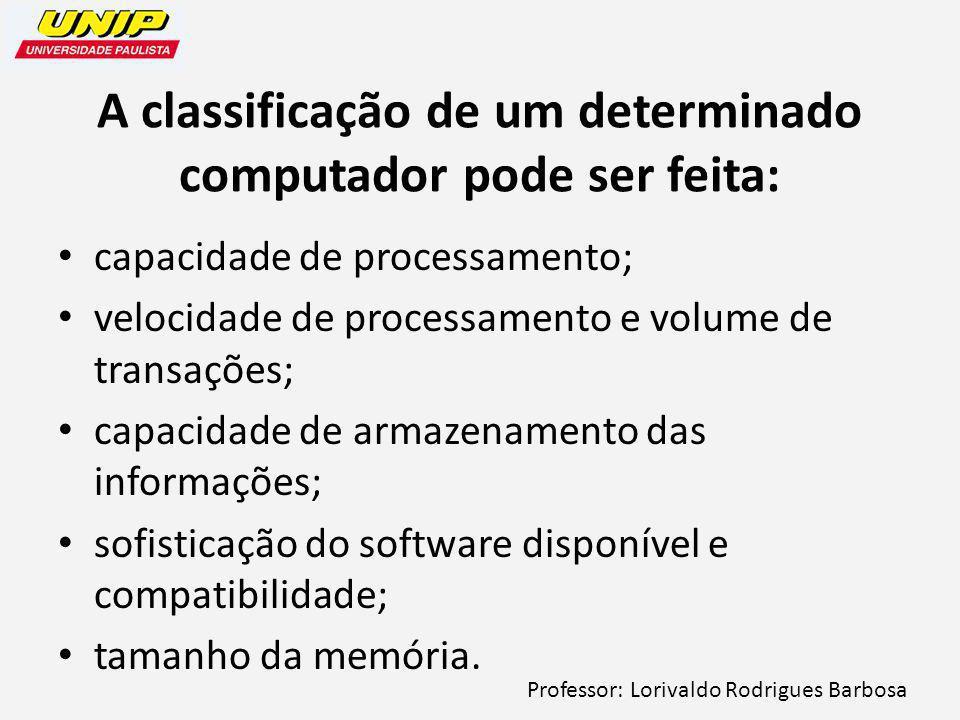 Professor: Lorivaldo Rodrigues Barbosa A classificação de um determinado computador pode ser feita: capacidade de processamento; velocidade de processamento e volume de transações; capacidade de armazenamento das informações; sofisticação do software disponível e compatibilidade; tamanho da memória.