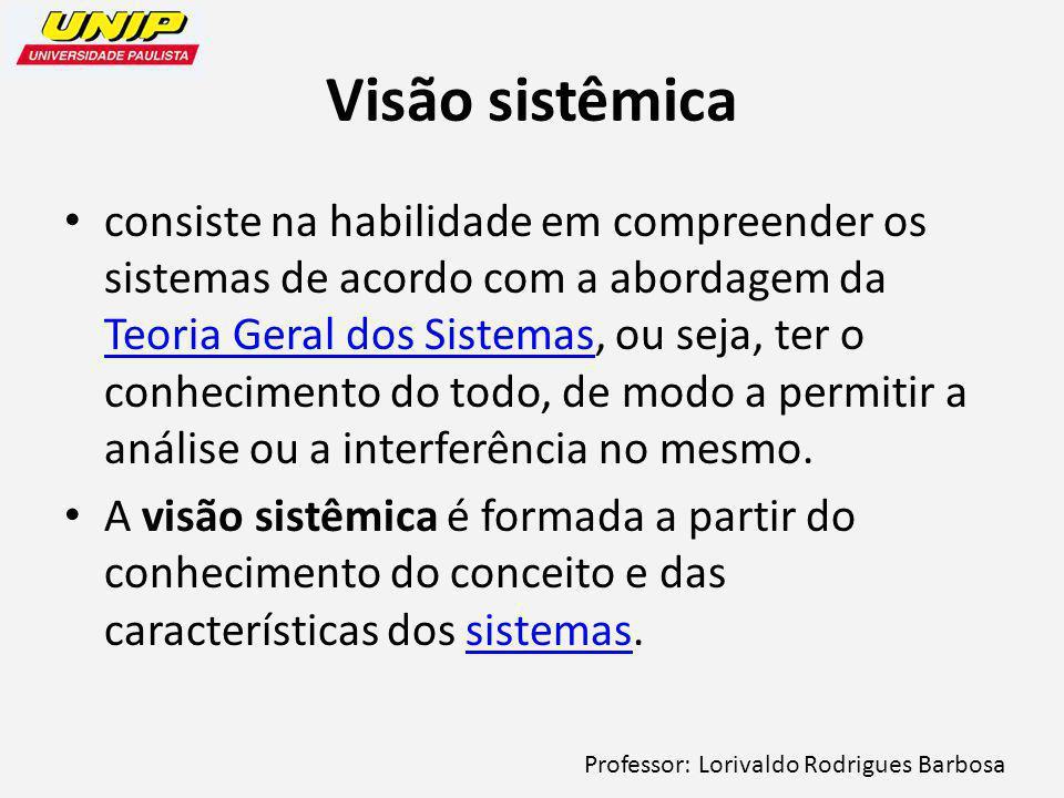 Professor: Lorivaldo Rodrigues Barbosa Visão sistêmica consiste na habilidade em compreender os sistemas de acordo com a abordagem da Teoria Geral dos Sistemas, ou seja, ter o conhecimento do todo, de modo a permitir a análise ou a interferência no mesmo.