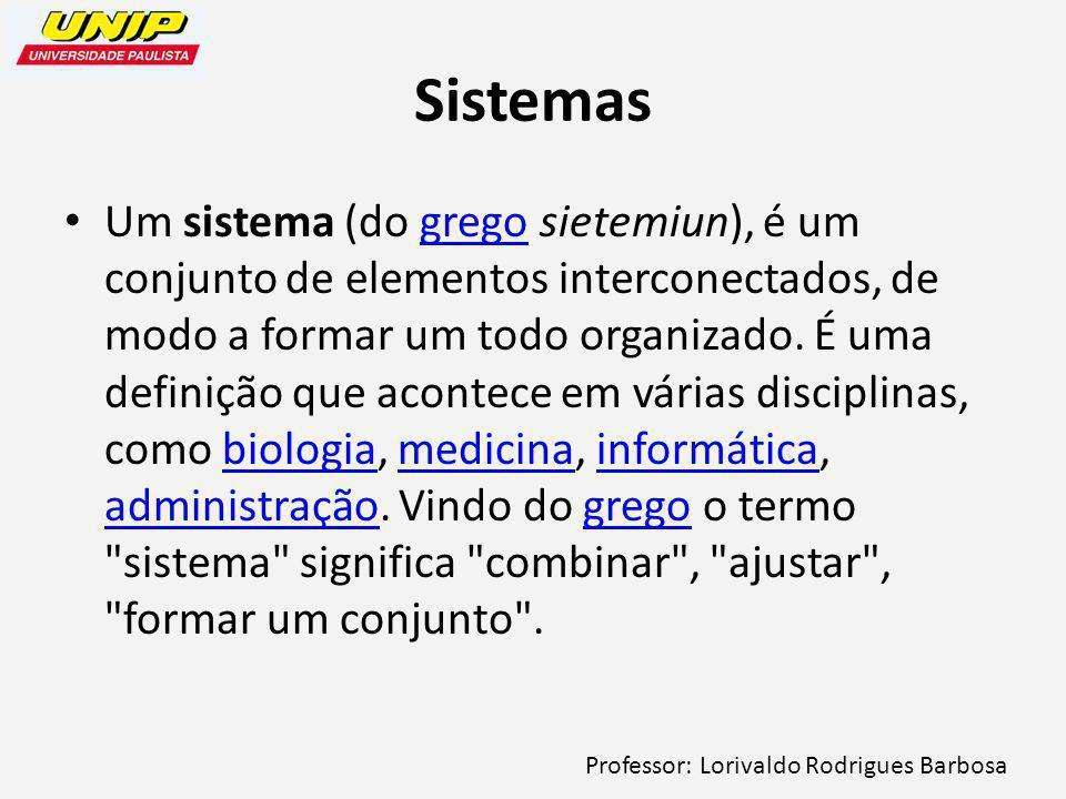 Professor: Lorivaldo Rodrigues Barbosa Sistemas Um sistema (do grego sietemiun), é um conjunto de elementos interconectados, de modo a formar um todo organizado.