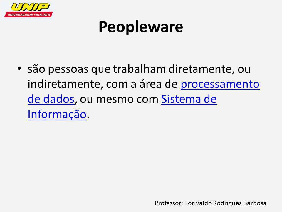 Professor: Lorivaldo Rodrigues Barbosa Peopleware são pessoas que trabalham diretamente, ou indiretamente, com a área de processamento de dados, ou mesmo com Sistema de Informação.processamento de dadosSistema de Informação
