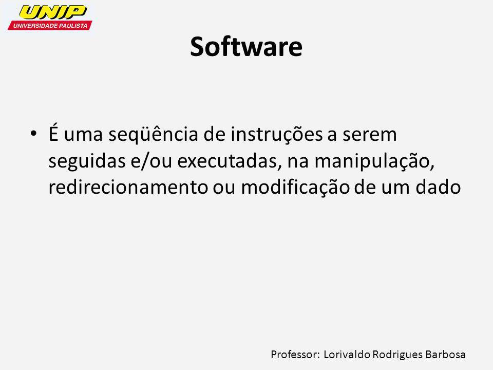 Professor: Lorivaldo Rodrigues Barbosa Software É uma seqüência de instruções a serem seguidas e/ou executadas, na manipulação, redirecionamento ou modificação de um dado