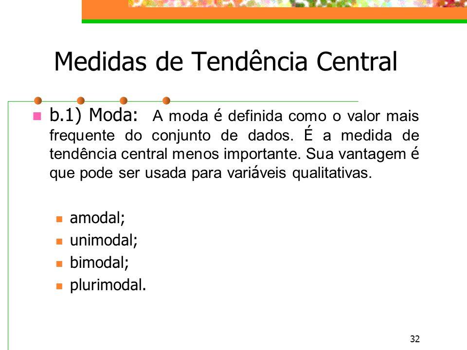 32 Medidas de Tendência Central b.1) Moda: A moda é definida como o valor mais frequente do conjunto de dados. É a medida de tendência central menos i
