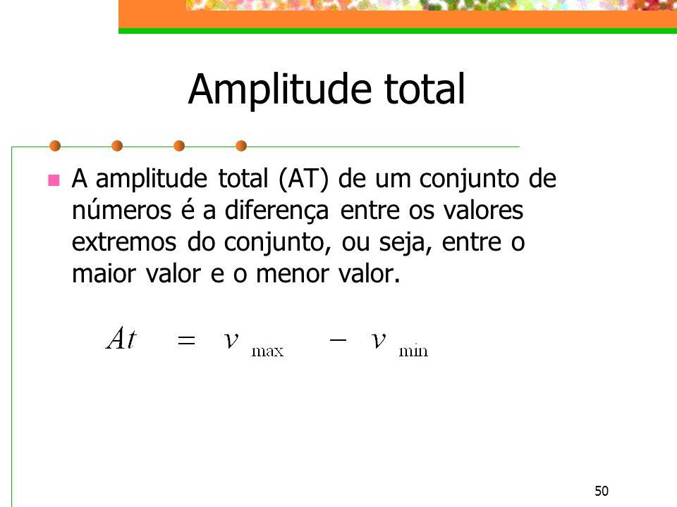 50 Amplitude total A amplitude total (AT) de um conjunto de números é a diferença entre os valores extremos do conjunto, ou seja, entre o maior valor