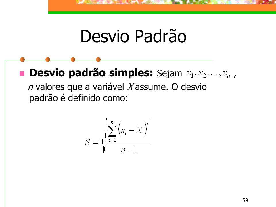 53 Desvio Padrão Desvio padrão simples: Sejam, n valores que a variável X assume. O desvio padrão é definido como:
