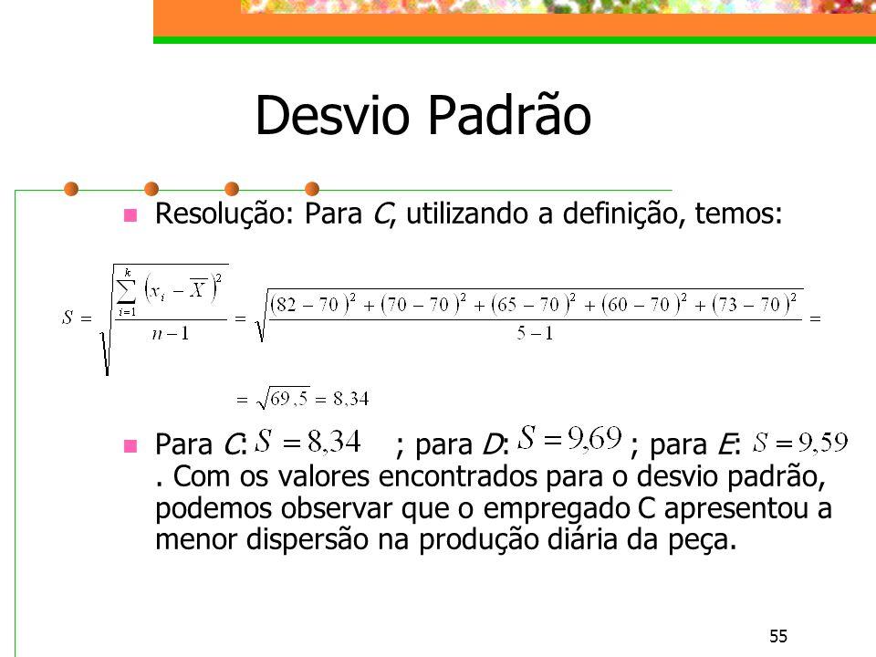 55 Desvio Padrão Resolução: Para C, utilizando a definição, temos: Para C: ; para D: ; para E:. Com os valores encontrados para o desvio padrão, podem