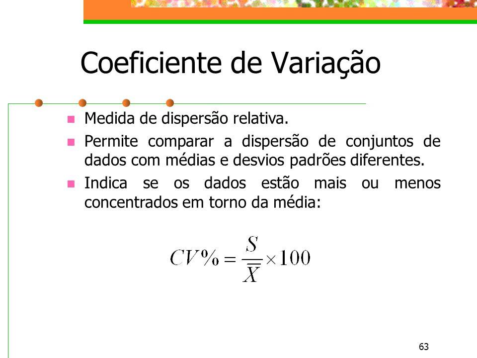 63 Coeficiente de Variação Medida de dispersão relativa. Permite comparar a dispersão de conjuntos de dados com médias e desvios padrões diferentes. I