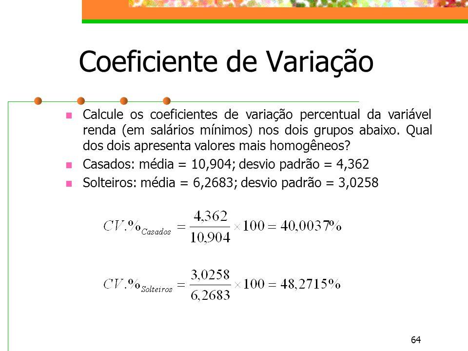 64 Coeficiente de Variação Calcule os coeficientes de variação percentual da variável renda (em salários mínimos) nos dois grupos abaixo. Qual dos doi