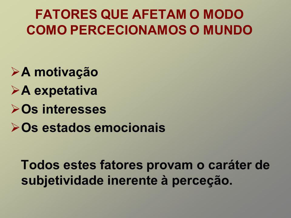 FATORES QUE AFETAM O MODO COMO PERCECIONAMOS O MUNDO A motivação A expetativa Os interesses Os estados emocionais Todos estes fatores provam o caráter