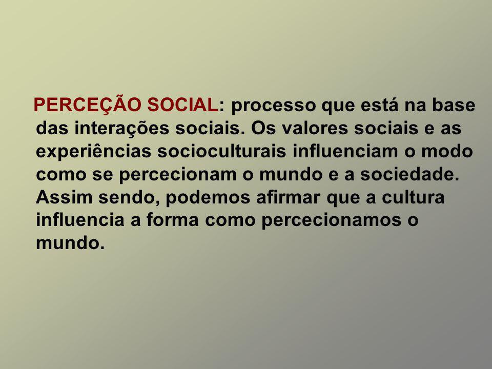 PERCEÇÃO SOCIAL: processo que está na base das interações sociais.