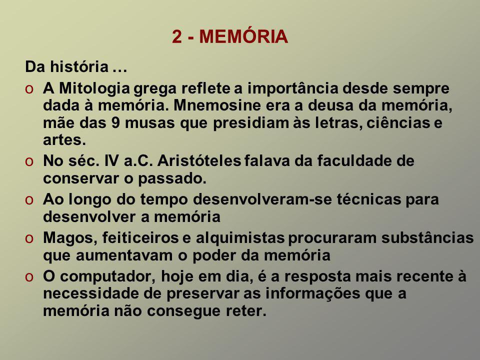 2 - MEMÓRIA Da história … oA Mitologia grega reflete a importância desde sempre dada à memória.