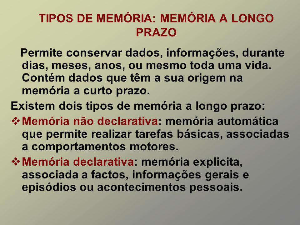 TIPOS DE MEMÓRIA: MEMÓRIA A LONGO PRAZO Permite conservar dados, informações, durante dias, meses, anos, ou mesmo toda uma vida.