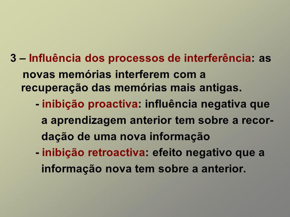 3 – Influência dos processos de interferência: as novas memórias interferem com a recuperação das memórias mais antigas. - inibição proactiva: influên