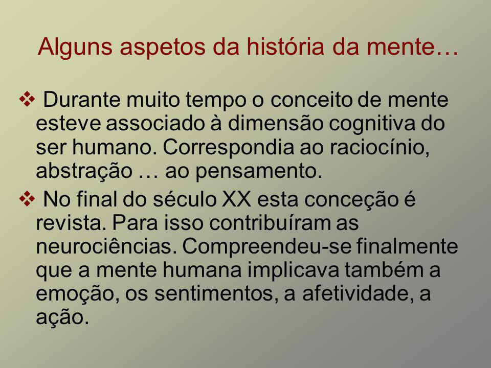 Alguns aspetos da história da mente… Durante muito tempo o conceito de mente esteve associado à dimensão cognitiva do ser humano. Correspondia ao raci
