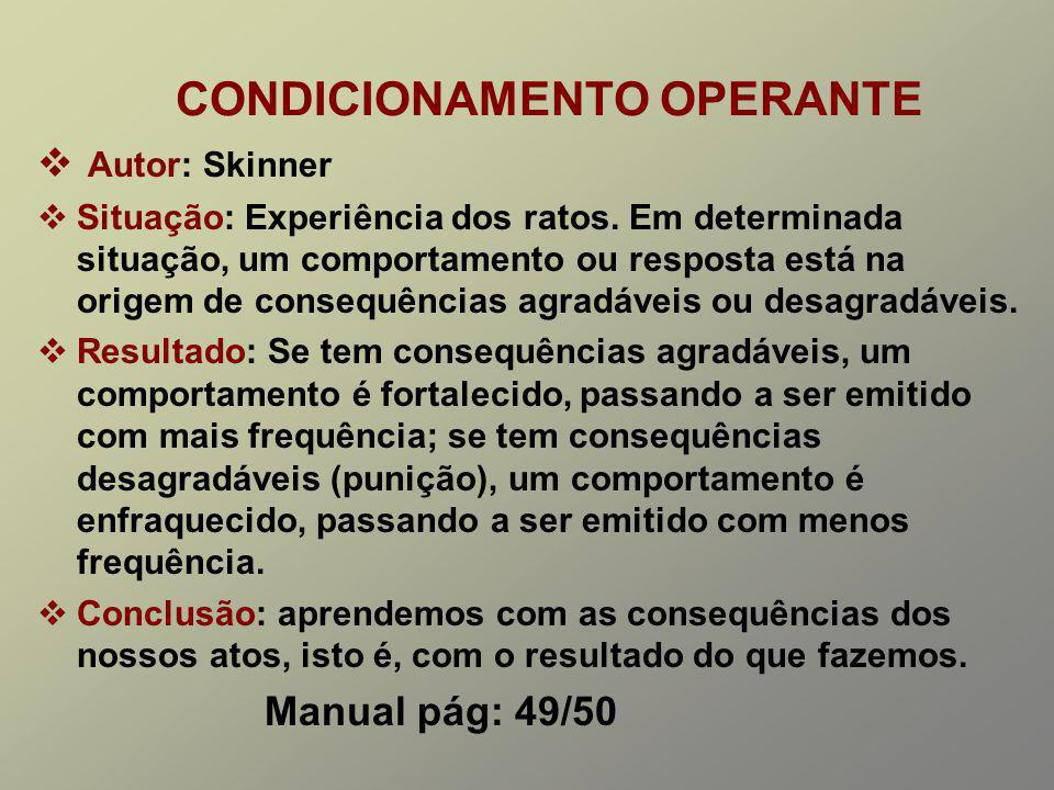 CONDICIONAMENTO OPERANTE Autor: Skinner Situação: Experiência dos ratos.