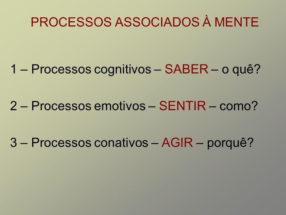 PROCESSOS ASSOCIADOS À MENTE 1 – Processos cognitivos – SABER – o quê? 2 – Processos emotivos – SENTIR – como? 3 – Processos conativos – AGIR – porquê