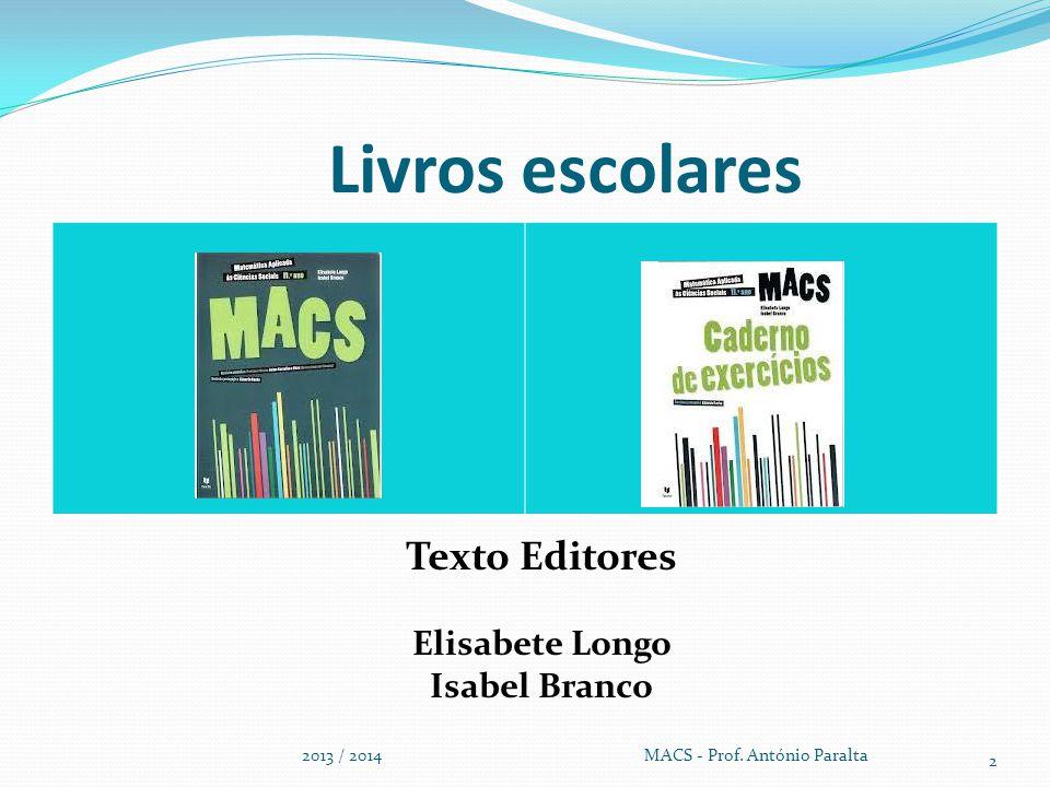 Livros escolares 2013 / 2014 MACS - Prof. António Paralta 2 Texto Editores Elisabete Longo Isabel Branco