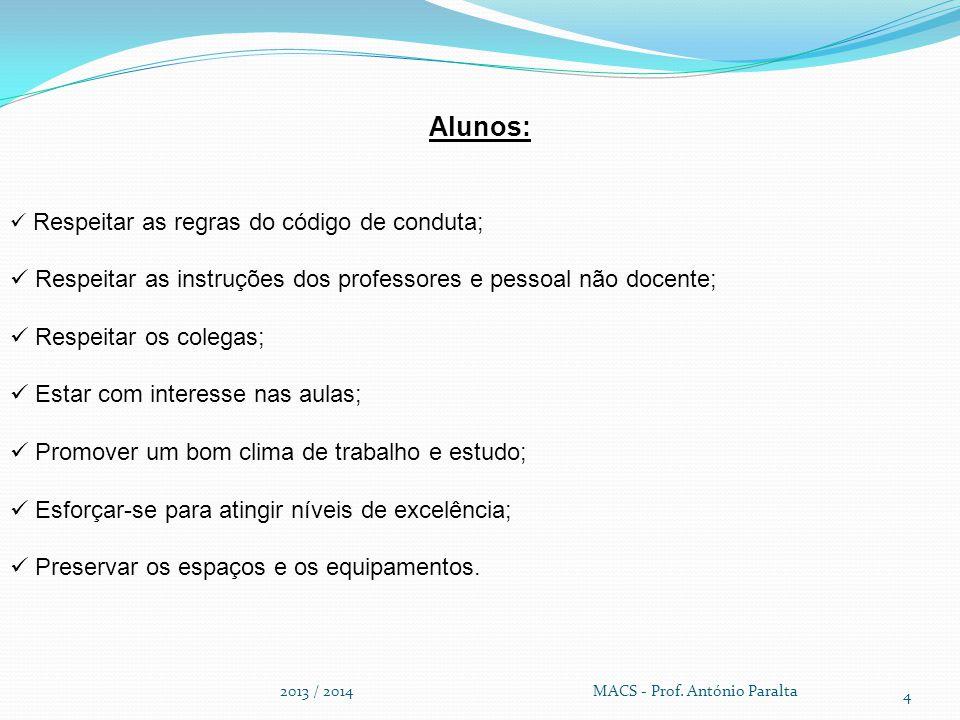 2013 / 2014 MACS - Prof. António Paralta 4 Alunos: Respeitar as regras do código de conduta; Respeitar as instruções dos professores e pessoal não doc