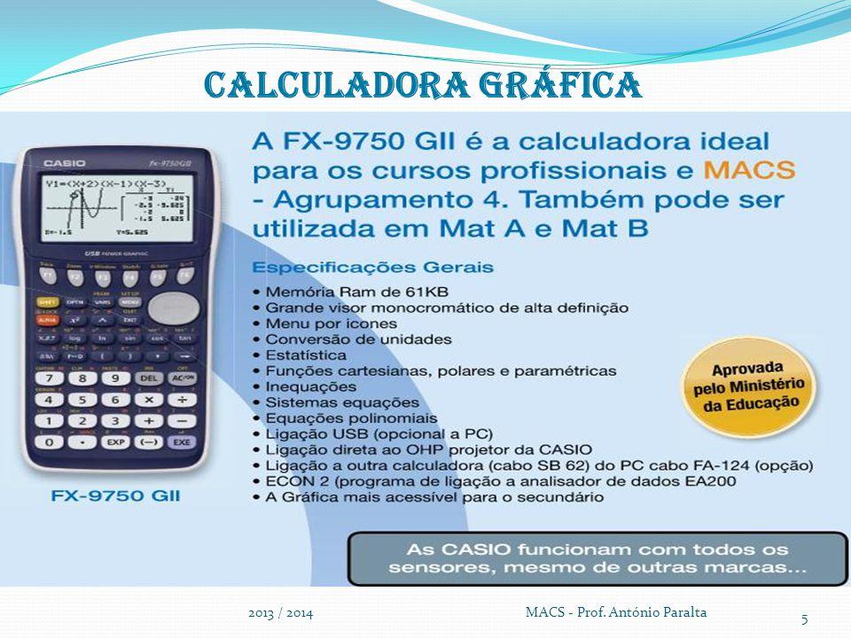 Calculadora gráfica 2013 / 2014 MACS - Prof. António Paralta 5
