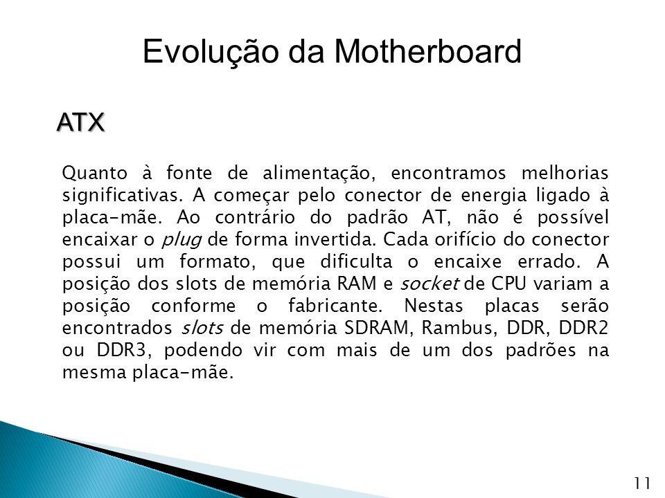 ATX Evolução da Motherboard Quanto à fonte de alimentação, encontramos melhorias significativas. A começar pelo conector de energia ligado à placa-mãe