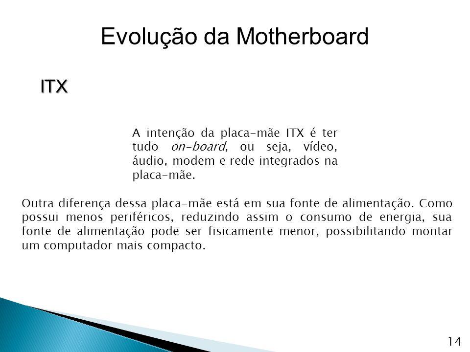 A intenção da placa-mãe ITX é ter tudo on-board, ou seja, vídeo, áudio, modem e rede integrados na placa-mãe. Outra diferença dessa placa-mãe está em
