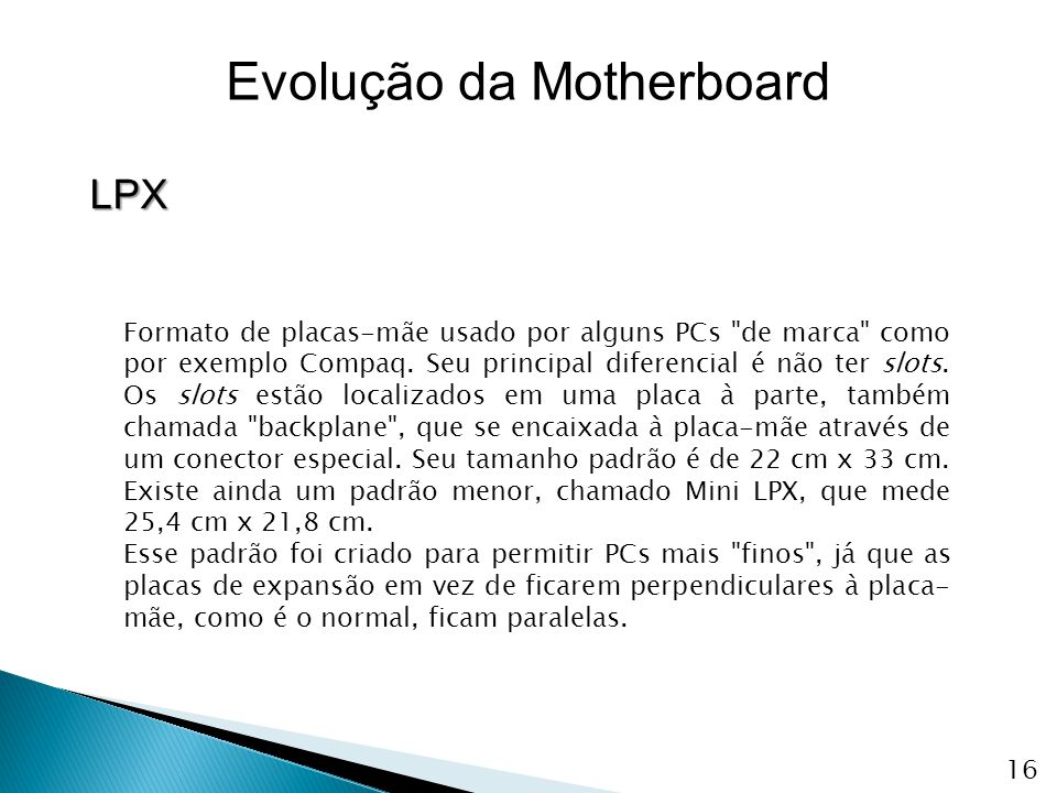 Evolução da Motherboard LPX Formato de placas-mãe usado por alguns PCs